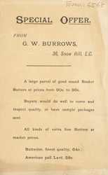 Advert For C. Burrows, Butter